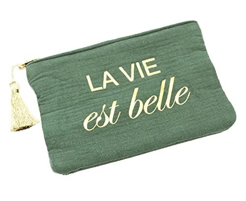Oh My Shop ATM152 - Trousse Pochette Coton Vert Message La Vie Est Belle Pompon Doré