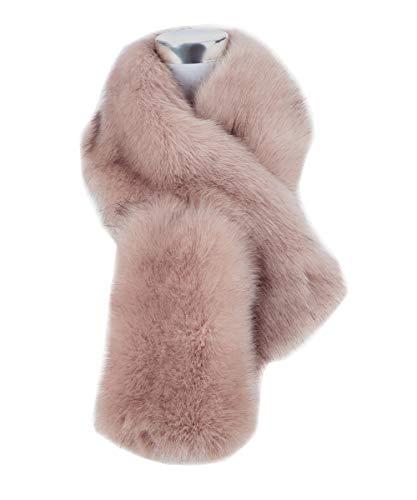 Saferin Falso invierno abrigo de la bufanda de piel sintética de las mujeres para boda (Rosa oscuro)