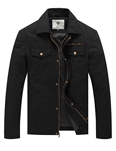 WenVen Men's Laydown Collar Canvas Cotton Military Jacket (Black,M)