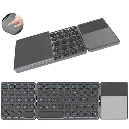 Dr.Lefran Bluetooth Foldable Keyboard, Portable Rechargeable Mini Wireless Touchpad Keyboard for iOS Android Windows PC Tablet,Gray