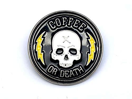 Patch Nation Coffee or Death Metall Badge Pin Pins Radfahrer Anstecker Broschen