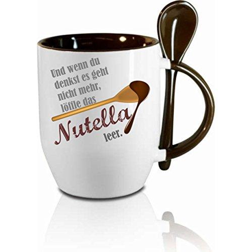 Creativ Deluxe Tasse m. Löffel Und wenn du denkst es geht Nicht mehr löffle das Nutella leer Löffeltasse, Kaffeetasse mit Motiv,Bürotasse, Bedruckte Tasse mit Sprüchen - auch individuelle Gestaltung