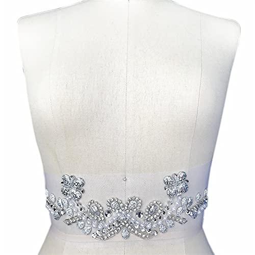 YUNSI Ropa de Plata Decoración de la Boda Coser en Rhinestones Cristales Parches Apliques Parche for Disfraces de Costura Accesorios de Baile DIY (Color : Waist Part 8x31cm)