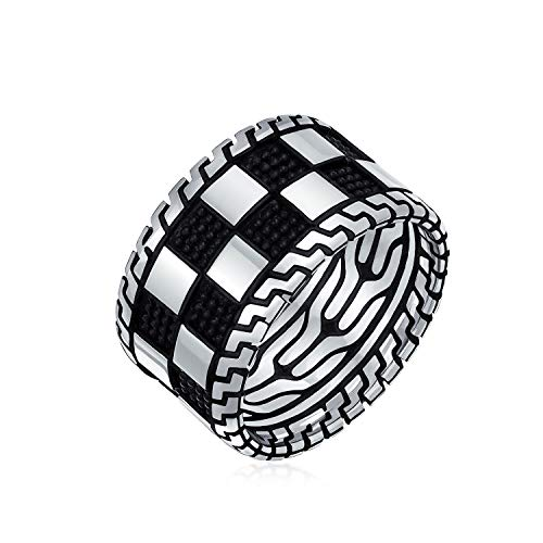 Mens Two Tone Black Silver Check Board Squares Lattice Wide Ring Band For Men Heavy Solid 925 Silver Handmade In Turkey