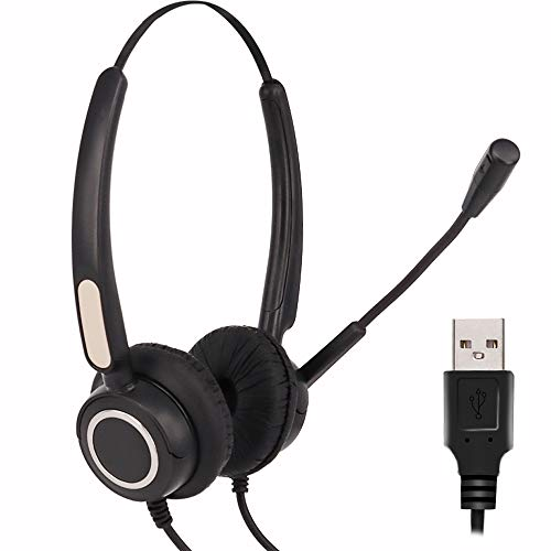 CALLANY USB Computer Headset for Office/Working Call Center USB Headset with Boom Microphone (Black)