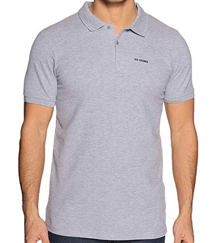 Ben Sherman Polo-Shirt Schlichtes Polohemd Herren T-Shirt Kurzarm-Shirt Freizeit-Shirt Grau, Größe:S