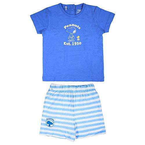 Cerdá Conjunto Bebe Niño Verano De Snoopy - 6 Meses - Camiseta + Pantalon De Algodon Ensemble de Shorts, Azul, Petit Mixte Enfant