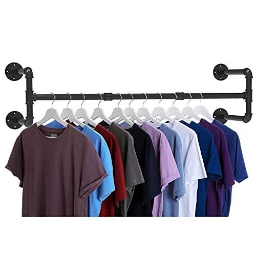 Soporte para barra de ropa de manguera industrial, barra de ropa, fija a la pared, barra de barra de ropa, perchero de manguera industrial para almacenamiento de armario de visualización de ⭐