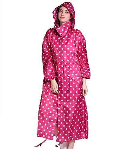 Lvguang Frauen Casual Täglich Wasserdicht Winddicht Outdoor Kapuzen Regenmantel Lange Regenschutz (Rot, Asia L)