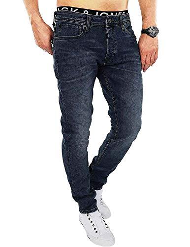 JACK & JONES Herren Slim/Straight Fit Jeans Tim Original AGI 010 (32W / 32L, Dark Blue Denim)