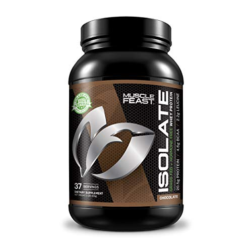 Muscle Feast Grass Fed Whey Protein Isolate, All Natural, Hormone Free, Fast Absorbing, 100% Pure Isolate, 20.5g Protein, 88 Calories (Chocolate, 2lb)