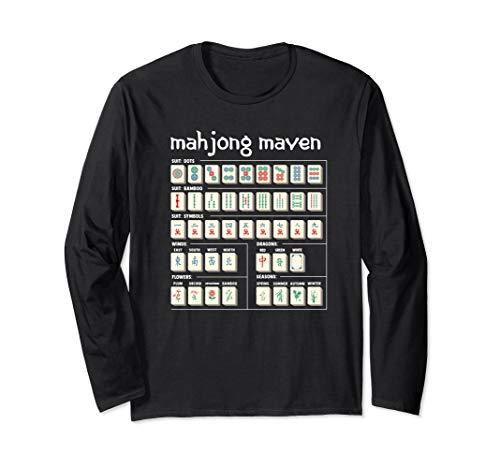 Mahjong Maven Mahjongg Player Card Chinese Tiles Long Sleeve T-Shirt