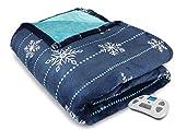 Serta Silky Plush Electric Heated Warming Blanket Queen Snowflake Navy