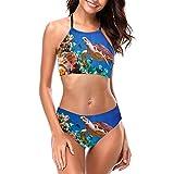 Delerain Traje de baño halter de cuello alto para mujer, traje de baño con relleno de tortuga marina, 2 piezas, talla S a XXL - - Large