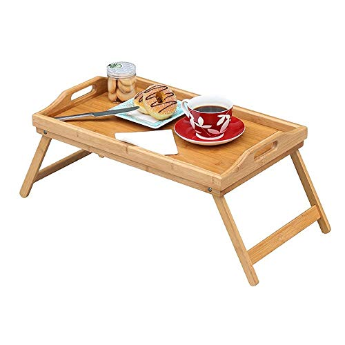 Fly Hong Tray Table, Bamboo Folding Bed Breakfast Tray Wood Laptop Tafel met handvaten in Floor Sofa Thuis