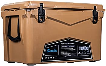 Seavilis Heavy Duty Camping Cooler 60qt (Tan) Hanging Wire Basket,Divider and Cup Holder are Free