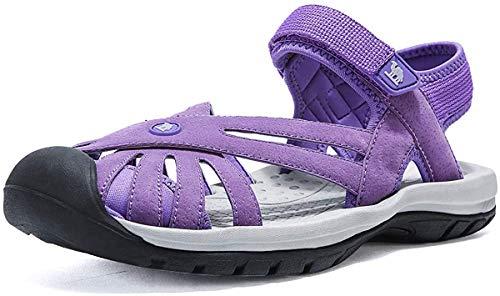 CAMEL CROWN Damskie sandały do wędrówek, antypoślizgowe, na lato, na plażę, wygodne, regulowane zapięcie na rzepy, lekkie sandały trekkingowe, zamknięte palce, fioletowy - liliowy - 40 EU