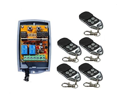Universel 2 Canaux Rolling Code Récepteur radio + 5 handsender, à betreiben chaque automatisation Porte de Garage/Alarme/quelques Autres Appareils 12–24 V DC, 433,92 MHz No/Nc