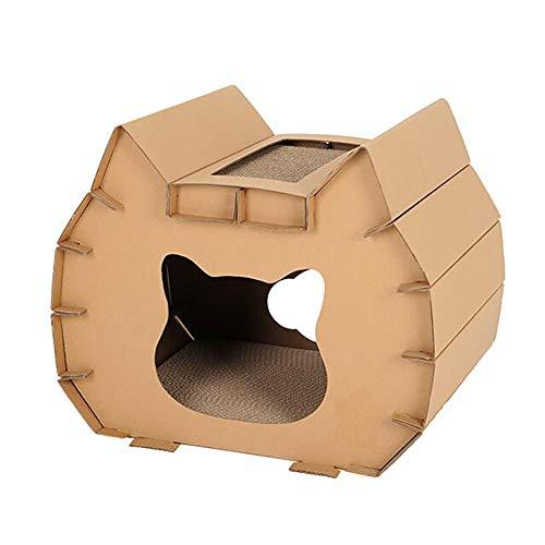 Eshow 猫タワー 猫爪とぎ 猫ハウス 段ボールハウス 組み立て簡単 燃えるゴミで処分できる