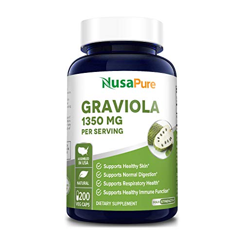 Graviola 1350mg 200 Veggie Caps (Non-GMO, Gluten Free) Soursop Supplement - Healthy Skin & Helps Promotes Cell Growth, Respiratory System, Balanced Mood