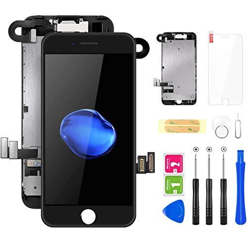 FLYLINKTECH Für iPhone 7 Display Schwarz, Ersatz Für LCD Touchscreen Digitizer vormontiert mit Hörmuschel, Frontkamera Reparaturset Komplett Ersatz Bildschirm mit Werkzeuge