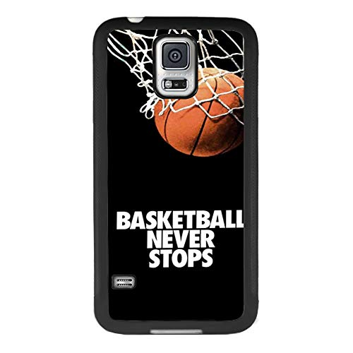 Samsung case for Samsung Galaxy S5 case Basketball Never Stops Slim Soft and Hard Tire Shockproof Protective Phone Cover Case Slim Hybrid Shockproof Protective Case Anti-Scratch Cushion Bumper with Re