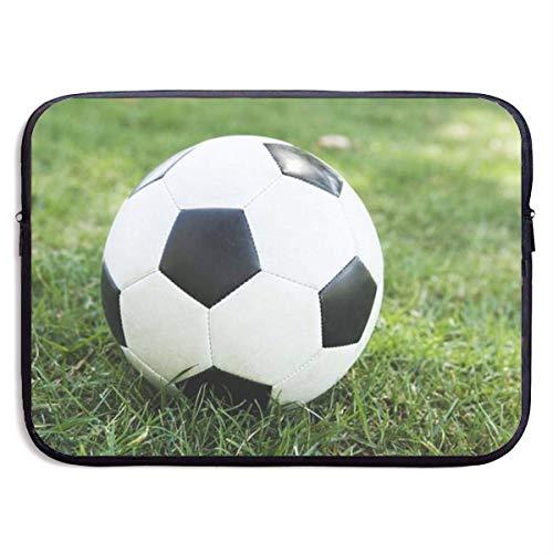 Balón de fútbol en Funda de portátil con Estampado herboso, Elegante Bolso de Mano con Estuche para portátil