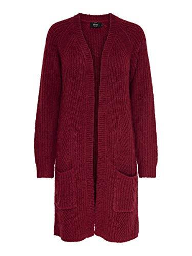 ONLY Damen ONLBERNICE L/S Cardigan KNT NOOS Strickjacke, Mehrfarbig (Merlot Detail: Black Melange), Medium (Herstellergröße: M)