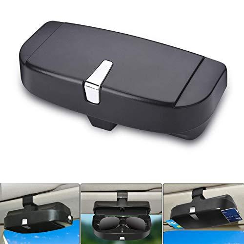 Auto Sonnenblende Brillenetui, Autoglashalter Sonnenblende Clip auf, Universal Car Sonnenbrillen Aufbewahrungsbox (Schwarz)