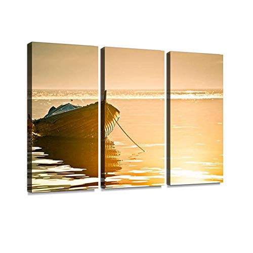 3 Panel Wall Art Modern Artworks for Home Decor Canvas Prints Wood Boat in Lake Como at Sunset Fishing Boats Stock Pictures Pictures for Living Room Bedroom Decoration, Ready to Hang