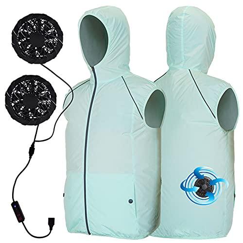 Aire Acondicionado Ropa Chaqueta Ventilador De Refrigeración Poliéster Tiras Reflexivas Para Adultos, Verde, 3XL