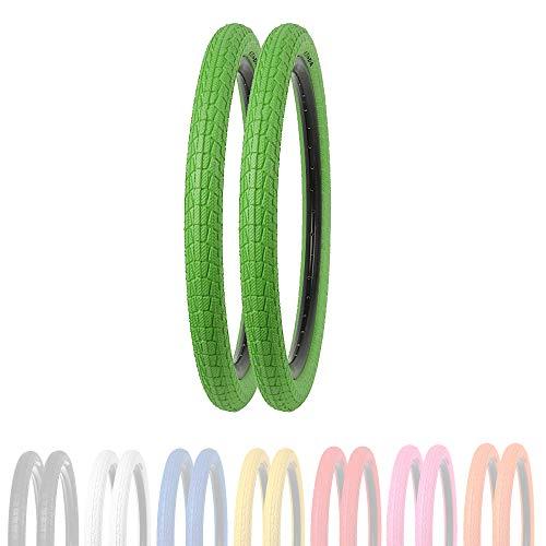 P4B | 2 neumáticos infantiles de 20 pulgadas en verde (50-406) | 20 x 1,95 | caja reforzada para mayor protección contra pinchazos | para BMX, Freestyle y bicicletas infantiles