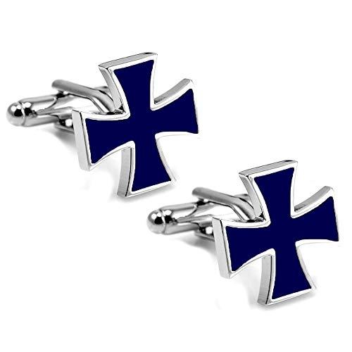BOBIJOO Jewelry - Gemelli Croce Maltese Cavaliere Patriota smaltato blu scuro
