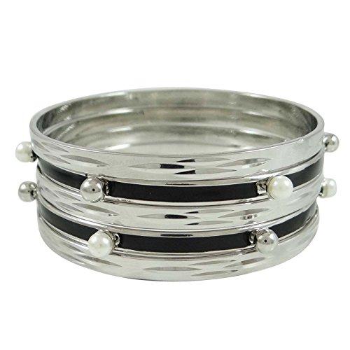 Indianbeautifulart Silberfarbenes Metall Armreifen Set Von 5 Stück Gypsy Bracelat Modeschmuck 2 * 8