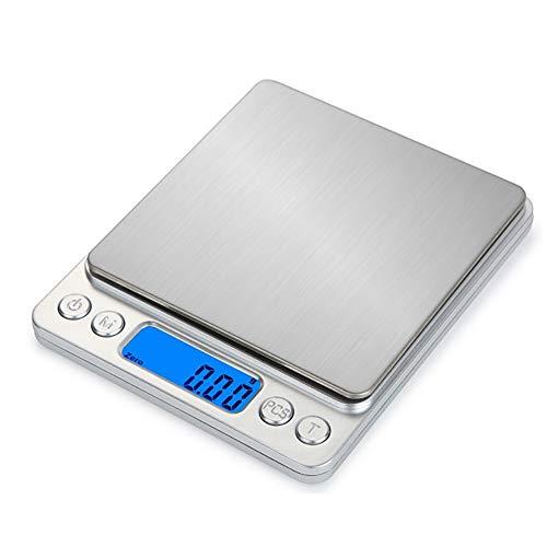 LAJIOJIO Báscula digital electrónica de cocina de alta precisión 1 kg/0,1 g, acero inoxidable, báscula de alimentos compacta electrónica para cocina y hogar, incluye batería