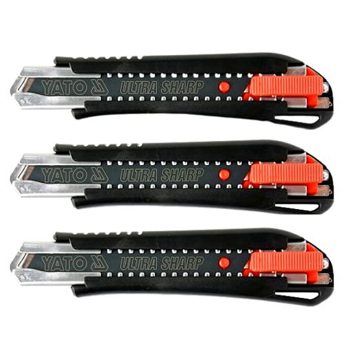 Yato 3PZ Profi Cuttermesser 18 mm scharfe Klinge aus Stahl Sk2h 18 mm Metallführung, Automatikblock, Profi-Cutter für professionelle Arbeit und einfach zu bedienen