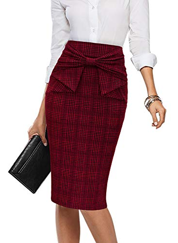 VFSHOW Womens Dark Red and Black Glen Plaid Pleated Bow High Waist Slim Work Office Business Pencil Skirt 2397 RED S