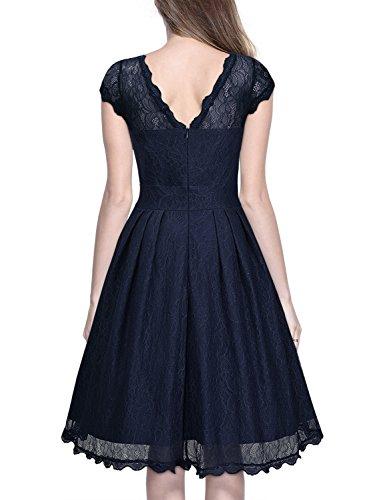 Miusol Damen Elegant Spitzenkleid Cocktailkleid Knielanges Vintage 50er Jahr Abendkleid Dunkelblau Gr.M - 3