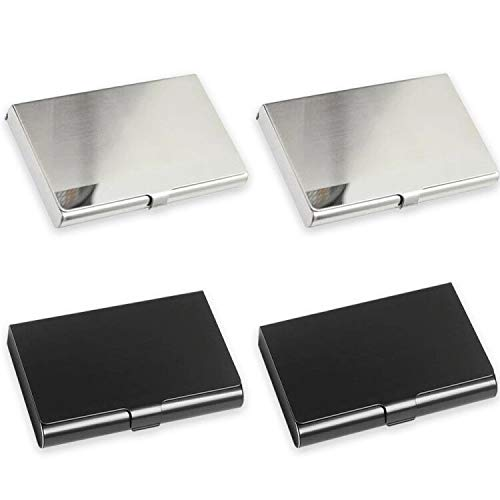 JEZOMONY Portatarjetas de Visita de Metal, Acero Inoxidable, Plata y Espejo Negro, Diseño Delgado y Grueso Tarjeta de Presentación ID de la Caja Portatarjetas para Hombres y Mujeres (Paquete de 4)