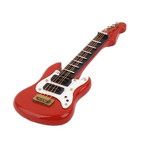 Romote 12.01 Puppenhaus Miniatur-Musikinstrument-Spielzeug Aus Holz E-Gitarre (rot)