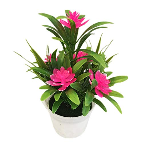 Superper Artificial Fake Lotus Flower Potted Plant Faux Plastic Greenery Bonsai Wedding Party Garden Home Decor Gift Pink