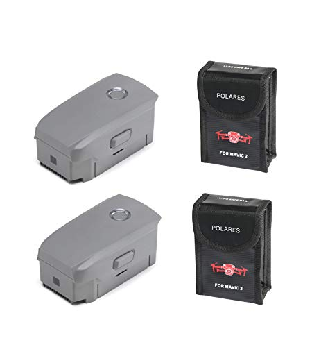 2X DJI Mavic 2 Intelligent Flight Batteries 3850mAh Replacement for Mavic 2 Pro or Mavic 2 Zoom Drone Quadcopter with 2 Battery Cases