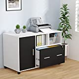 Tribesigns File Cabinet with Lock and Drawer, Large Modern Mobile Lateral Filing Cabinet Printer Stand with Wheels and Storage Shelves for Home Office, Letter/Legal/A4 Size (White)