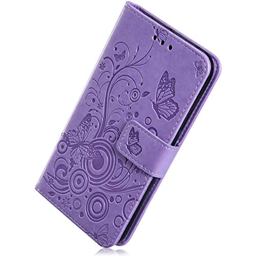 Buy Herbests Compatible with Samsung Galaxy J3 2018 Case 3D Embossed Flower Butterfly Wallet Flip Le...