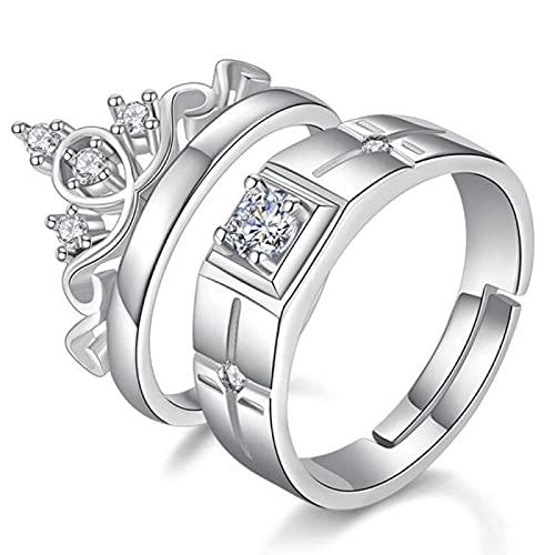 Plata de ley 925, nueva joyería, anillo de pareja de moda, compromiso, aniversario de boda, regalo, mujer, hombre, corona, anillo abierto