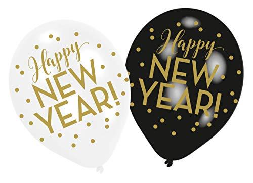 amscan 9902872 6 Latexballons Happy New Year, Schwarz/Weiß/Gold, 27, 5 cm