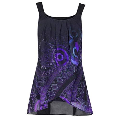Damen-Hemd, ärmellos, O-Ausschnitt, sexy Tank-Top, Bluse, Camisole Tunika Tops Gr. 56, violett