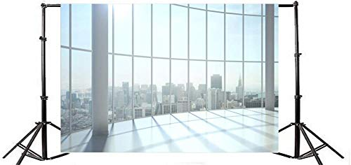 New Window View Photography Backdrops High Building Office Worker Vinyl Studio Backdrop Sunshine Window Photography Backdrop Lattice Empty Room City Landscape Aerial View-7x5FT
