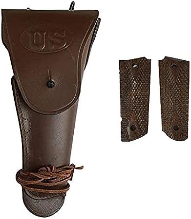 Warcraft Exports US WW2 .45 Brown Hip M1911 Colt Pistolera de Cuero para Pistola con empuñaduras de Pistola de Madera de Nogal M1911 / 1911 .45 - Reproducción (Combo)
