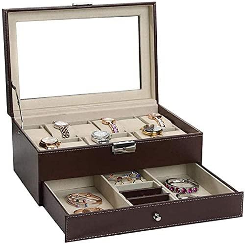 Caja de reloj para hombre y mujer, caja de joyería de viaje de piel sintética de 2 capas, 30 x 20 x 13 cm